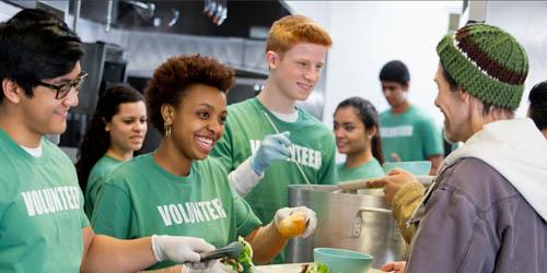 Volunteers in a kitchen